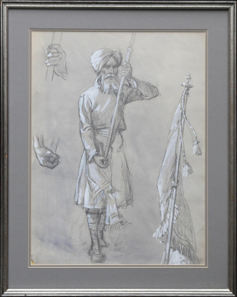 Portrait of a Sikh Soldier - Australian art Anzac WWI drawing Gallipoli flag - Art by Ellis Silas