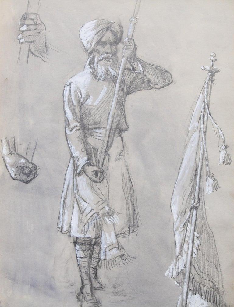Portrait of a Sikh Soldier - Australian art Anzac WWI drawing Gallipoli flag - Realist Art by Ellis Silas