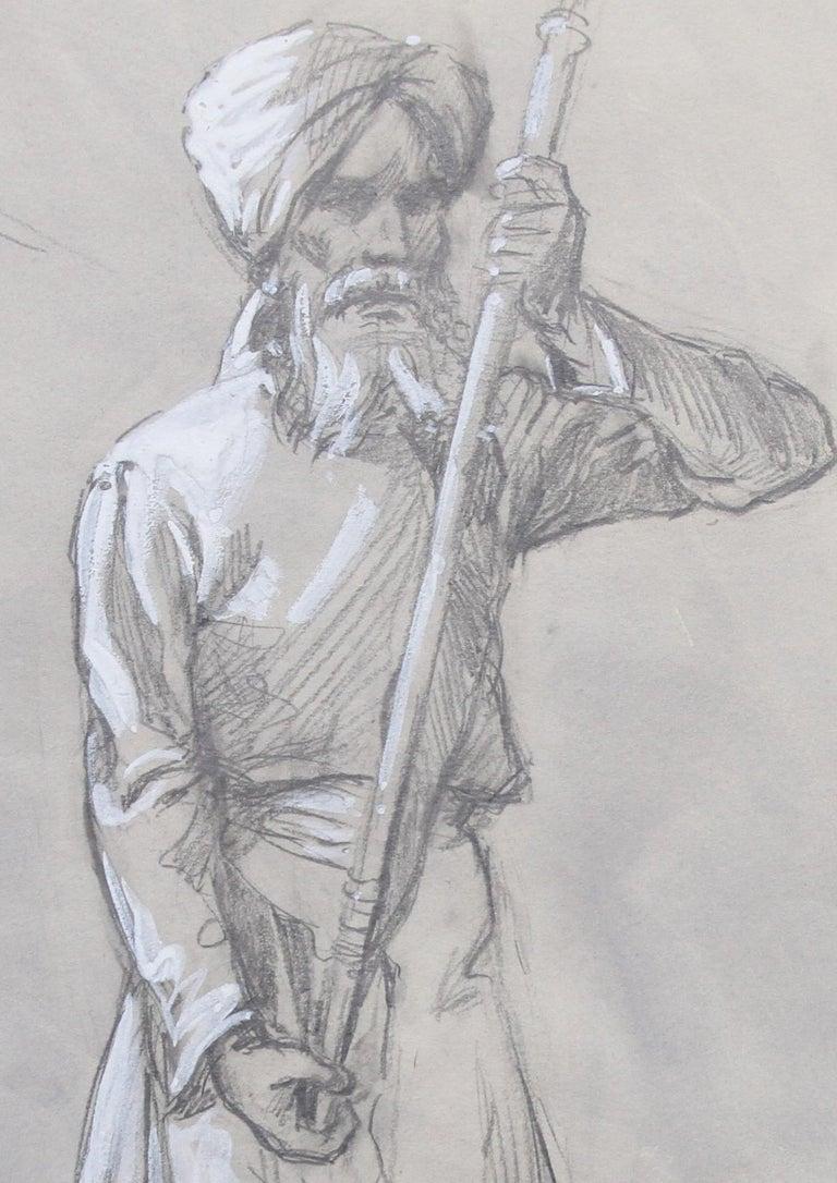 Portrait of a Sikh Soldier - Australian art Anzac WWI drawing Gallipoli flag 1