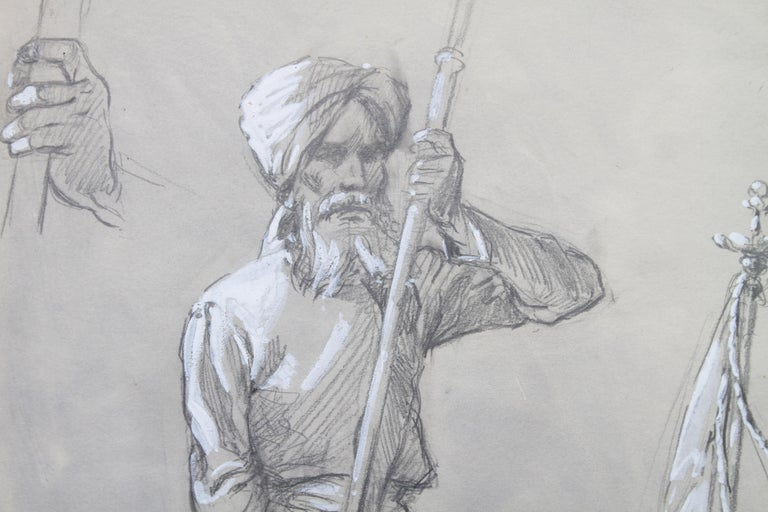 Portrait of a Sikh Soldier - Australian art Anzac WWI drawing Gallipoli flag 2