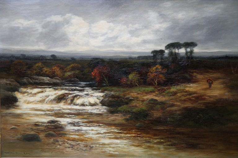 Upper Reaches of Dulnain River - Scottish Victorian art landscape oil painting - Painting by William Beattie-Brown