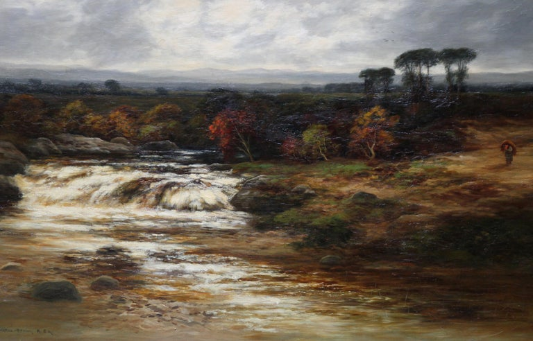 Upper Reaches of Dulnain River - Scottish Victorian art landscape oil painting - Impressionist Painting by William Beattie-Brown