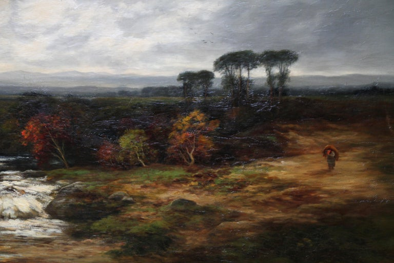 This beautiful Scottish Impressionist oil on canvas  circa 1880 is by Scottish artist William Beattie-Brown. This large painting is of the Dulnain river in the Cairngorms national park. There is autumnal colouring of the landscape and a figure