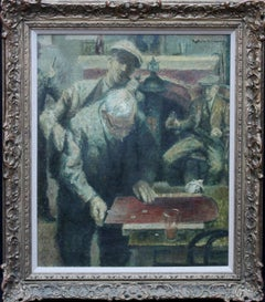 Shove Ha'penny - British Impressionist art 40's Pub game interior oil painting