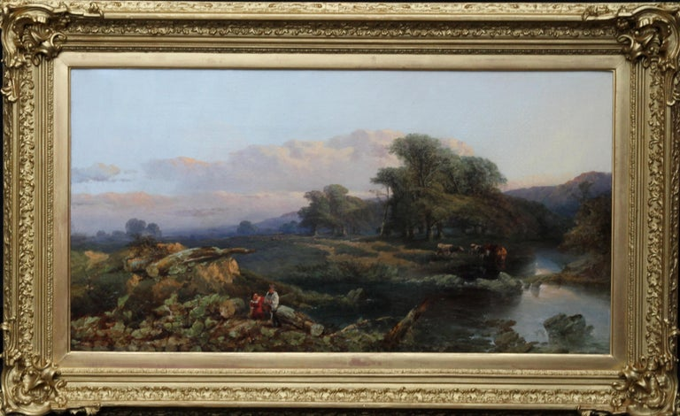 Thomas Edwards  Landscape Painting - Landscape with Cattle and Peasants - British 19thC art landscape oil painting