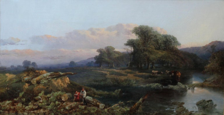 Landscape with Cattle and Peasants - British 19thC art landscape oil painting  - Painting by Thomas Edwards