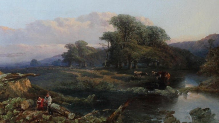 Landscape with Cattle and Peasants - British 19thC art landscape oil painting  - Realist Painting by Thomas Edwards