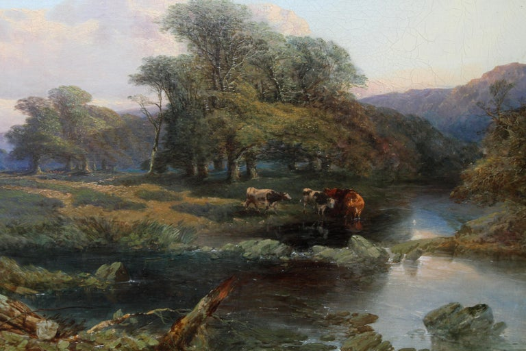 Landscape with Cattle and Peasants - British 19thC art landscape oil painting  - Brown Landscape Painting by Thomas Edwards
