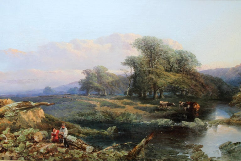 This charming Victorian landscape oil painting is by British Birmingham 19th century artist T Edwards. The composition is a river in a landscape - in the foreground a couple of figures and their dog rest on a fallen log by the waters edge. Behind