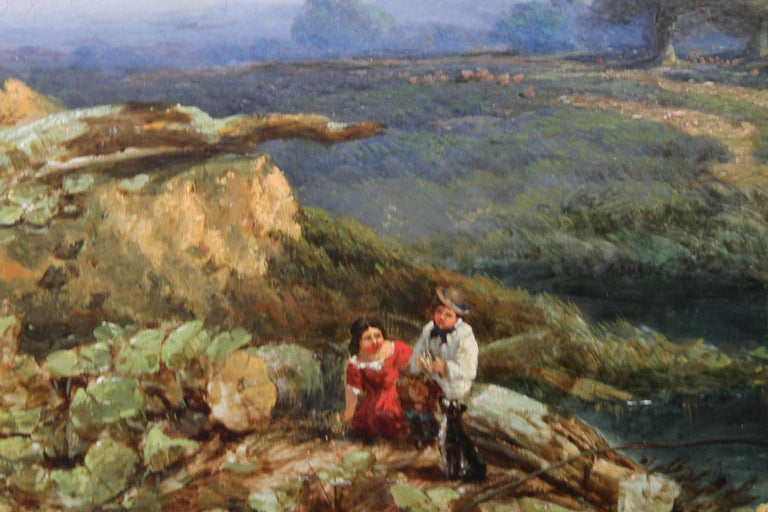Landscape with Cattle and Peasants - British 19thC art landscape oil painting  For Sale 2