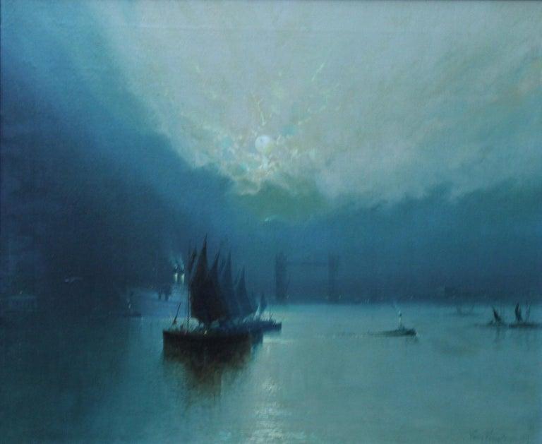 London Tower Bridge from River Thames - British art 1917 marine oil painting - Painting by Harry Halsey Meegan