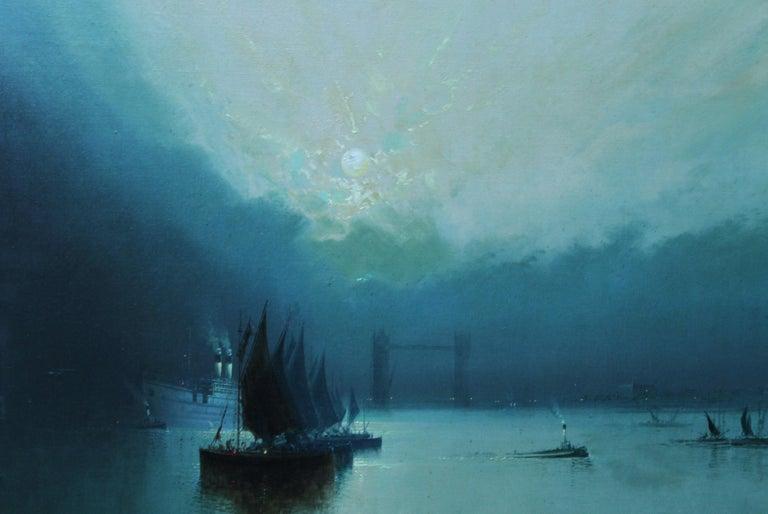 London Tower Bridge from River Thames - British art 1917 marine oil painting - Realist Painting by Harry Halsey Meegan
