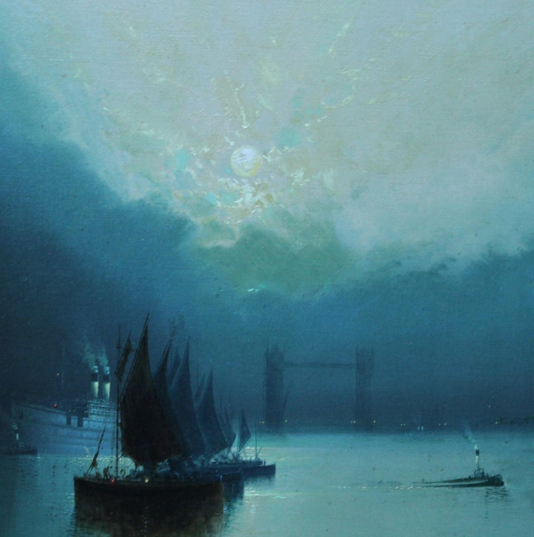 London Tower Bridge from River Thames - British art 1917 marine oil painting - Blue Landscape Painting by Harry Halsey Meegan