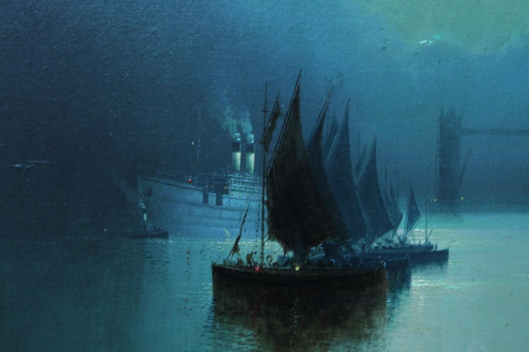 This lovely early 20th century marine oil painting is by artist Harry Halsey Meegan. Painted in 1917 the painting is of a number of vessels on the Thames with London Bridge in the background. The sky is flooded with light and hence the water is