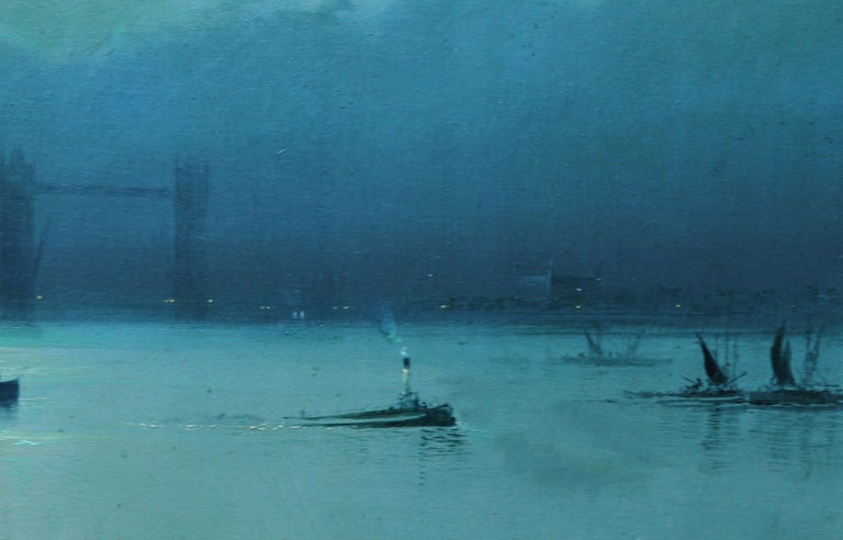London Tower Bridge from River Thames - British art 1917 marine oil painting For Sale 1
