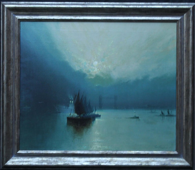 London Tower Bridge from River Thames - British art 1917 marine oil painting For Sale 7