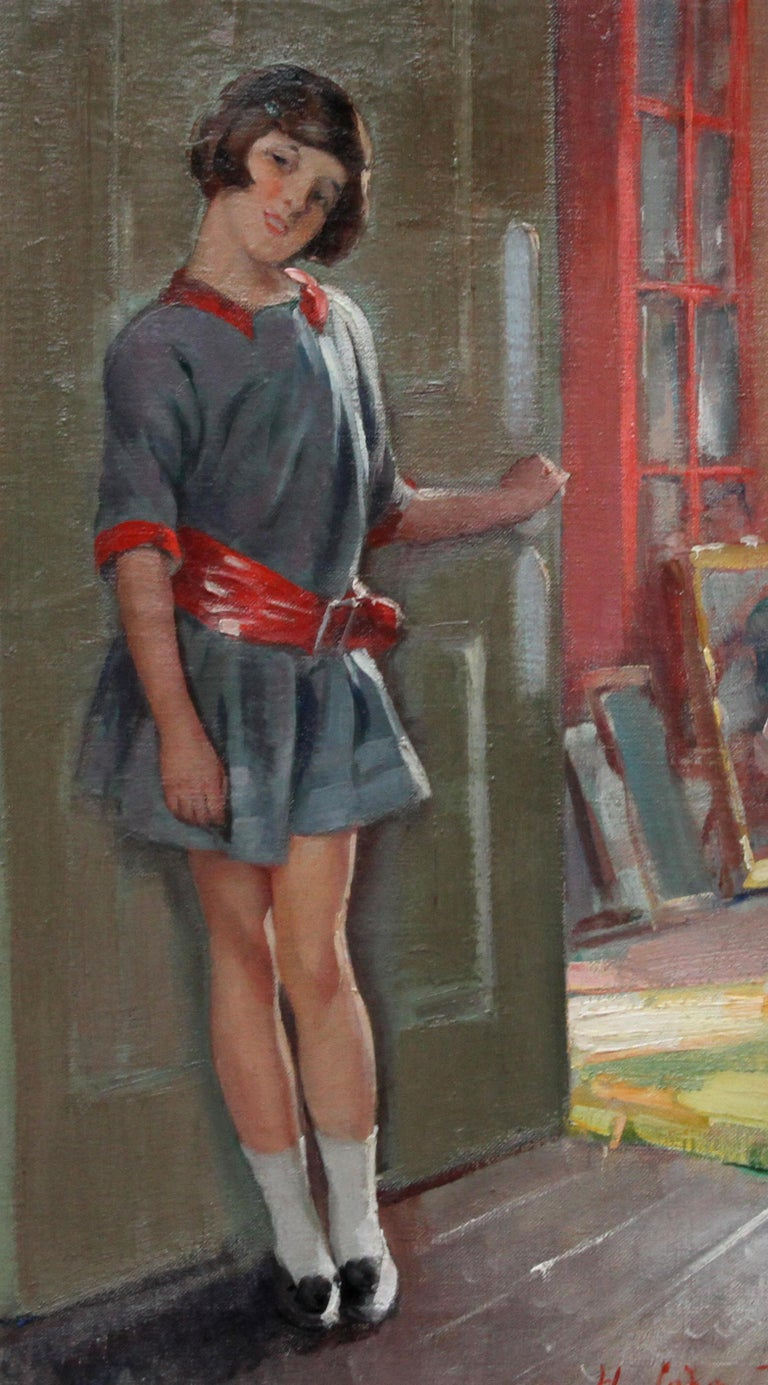 Portrait of a Girl in an Interior - British 20's Art Deco portrait oil painting - Gray Portrait Painting by Harry John Pearson