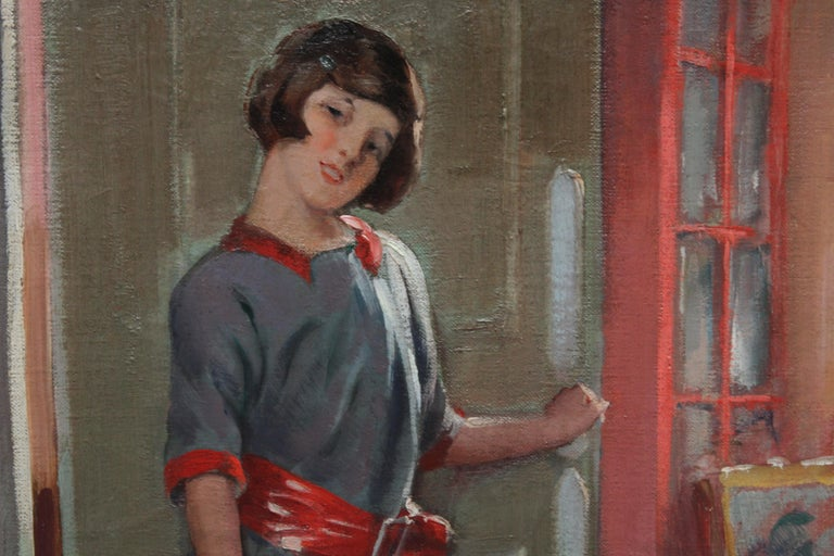 Portrait of a Girl in an Interior - British 20's Art Deco portrait oil painting For Sale 1