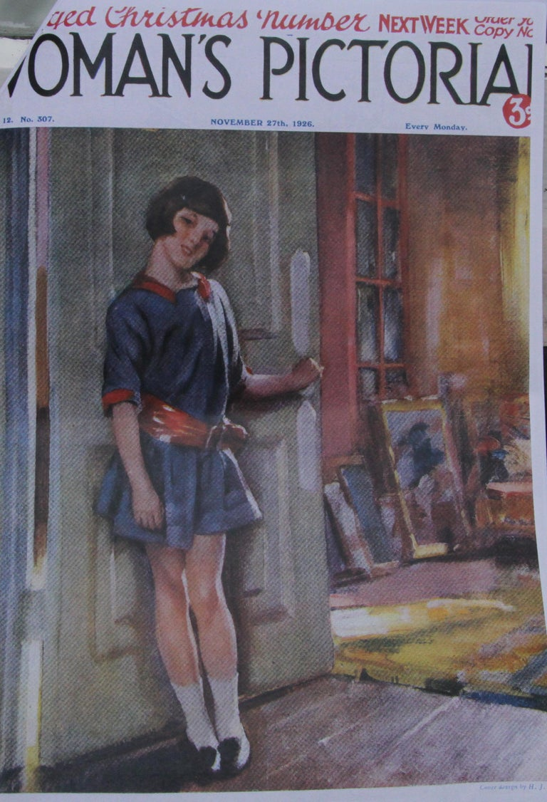 Portrait of a Girl in an Interior - British 20's Art Deco portrait oil painting For Sale 4
