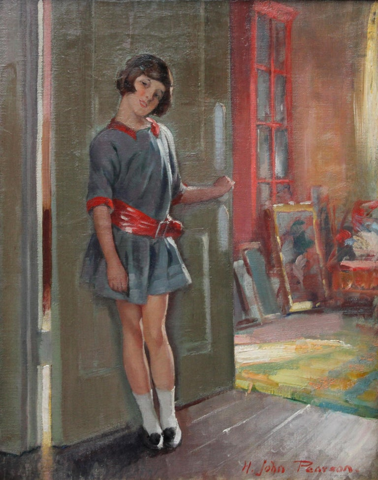 Portrait of a Girl in an Interior - British 20's Art Deco portrait oil painting For Sale 5