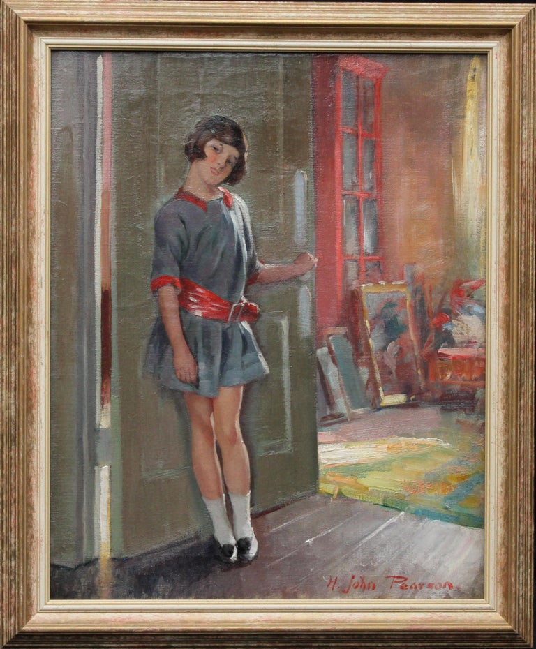 Portrait of a Girl in an Interior - British 20's Art Deco portrait oil painting For Sale 6