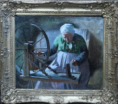 Portrait of Lady at Spinning Wheel - French 1901 interior portrait oil painting