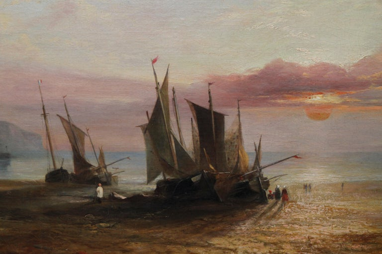 Low Tide at Sunset - Fecamp Normandy - British 19thC art seashore oil painting  - Brown Landscape Painting by W E Bates