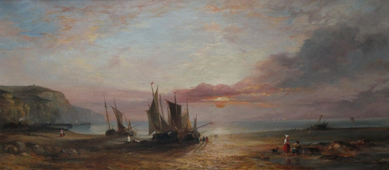Low Tide at Sunset - Fecamp Normandy - British 19thC art seashore oil painting  For Sale 5