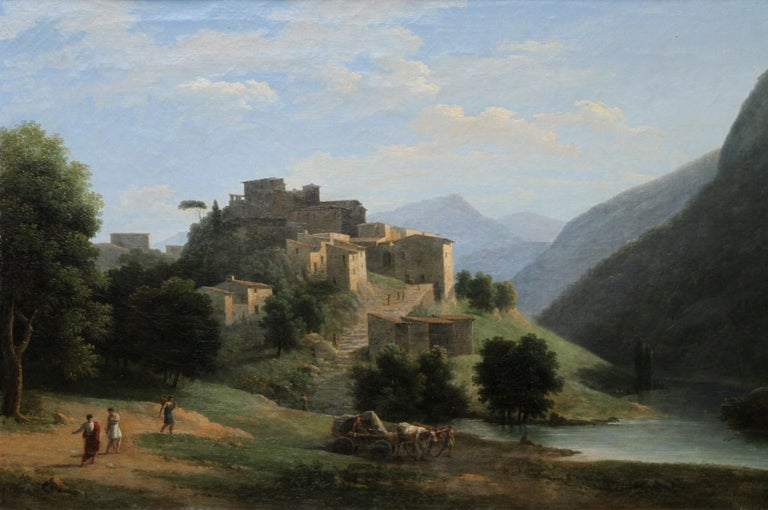 Italian Mountainous River Landscape  - French 19th Century Neo Classical art  - Painting by Jean Victor Bertin