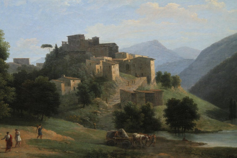 Italian Mountainous River Landscape  - French 19th Century Neo Classical art  For Sale 1