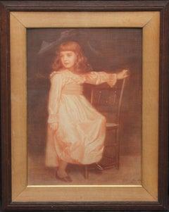 Portrait of Elaine Blunt - British 19th century art Pre-Raphaelite chalk drawing