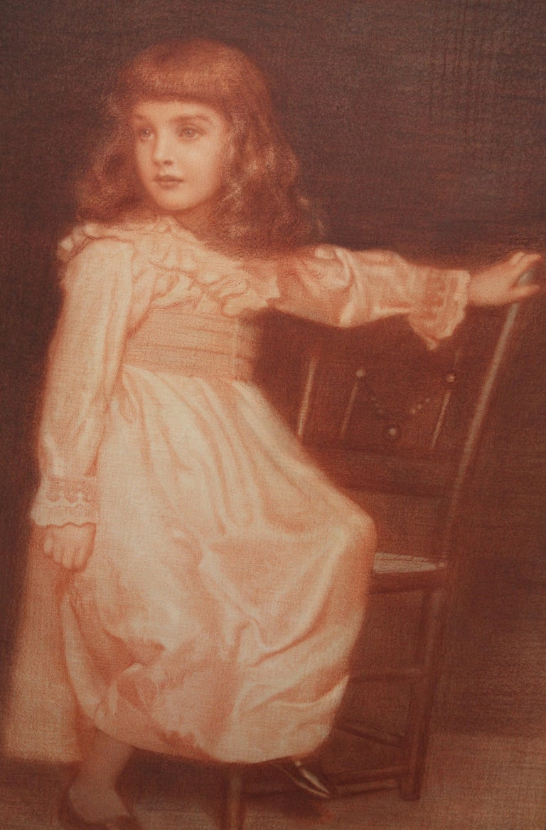 Portrait of Elaine Blunt - British 19th century art Pre-Raphaelite chalk drawing For Sale 2