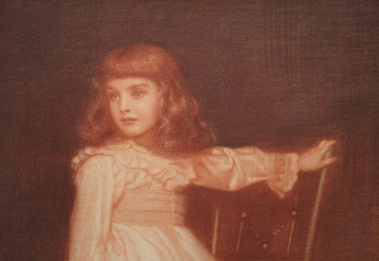 Portrait of Elaine Blunt - British 19th century art Pre-Raphaelite chalk drawing For Sale 3
