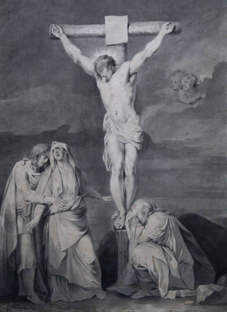 The Crucifixion of Jesus - Dutch Old Master religious painting 18th century art  - Art by Sara Troost