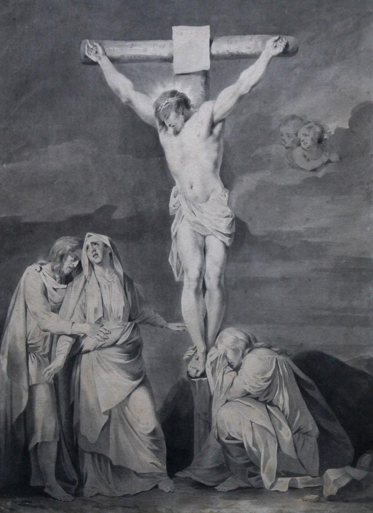 The Crucifixion of Jesus - Dutch Old Master religious painting 18th century art  - Old Masters Art by Sara Troost