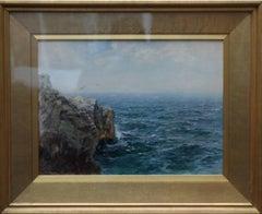 Atlantic Shores - British Victorian art Cornwall painting seascape seagulls