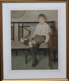 Portrait of a Boy - British Art Deco interior painting seated male female artist