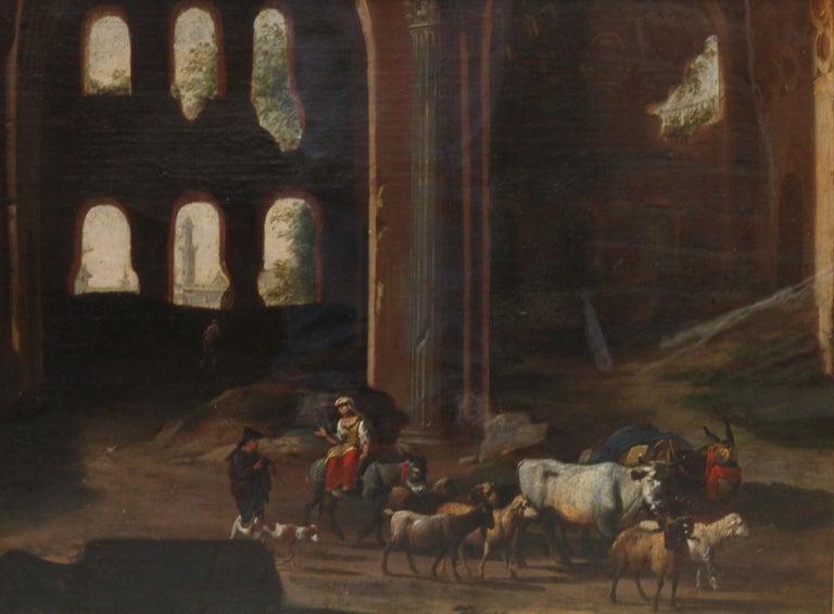 Capriccio Landscape - British 18th century art ruins landscape oil painting  - Painting by Hubert Robert (circle)