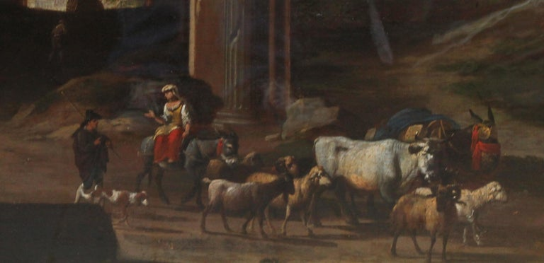 This stunning 18th century British Old Master landscape oil painting is attributed to circle of Hubert Robert or 'Robert of the Ruins'. The painting dates to circa 1790 and is a romantic fictitious capriccio landscape. Figures with cattle are in the