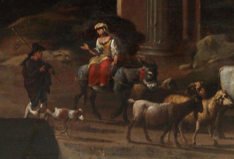 Capriccio Landscape - British 18th century art ruins landscape oil painting  For Sale 1