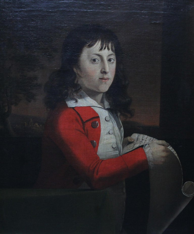 Portrait of a Young Boy Thomas Wagstaff - Scottish art 18th century oil painting - Painting by Attributed to Alexander Nasmyth