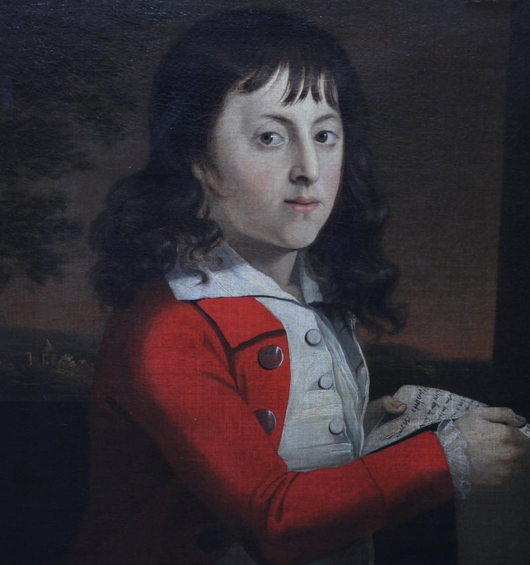 Portrait of a Young Boy Thomas Wagstaff - Scottish art 18th century oil painting - Old Masters Painting by Attributed to Alexander Nasmyth