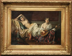 Serenade in the Harem - French 19th Century Orientalist art nude oil painting