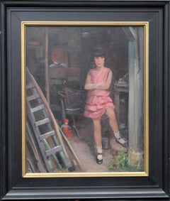Portrait of Audrey Hughes in Pink - British 1920's Art Deco oil painting