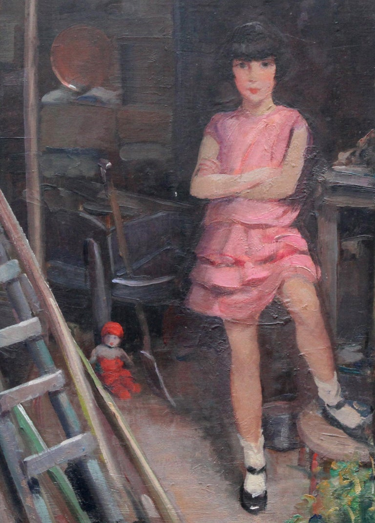 Portrait of Audrey Hughes in Pink - British 1920's Art Deco oil painting - Gray Portrait Painting by Harry John Pearson