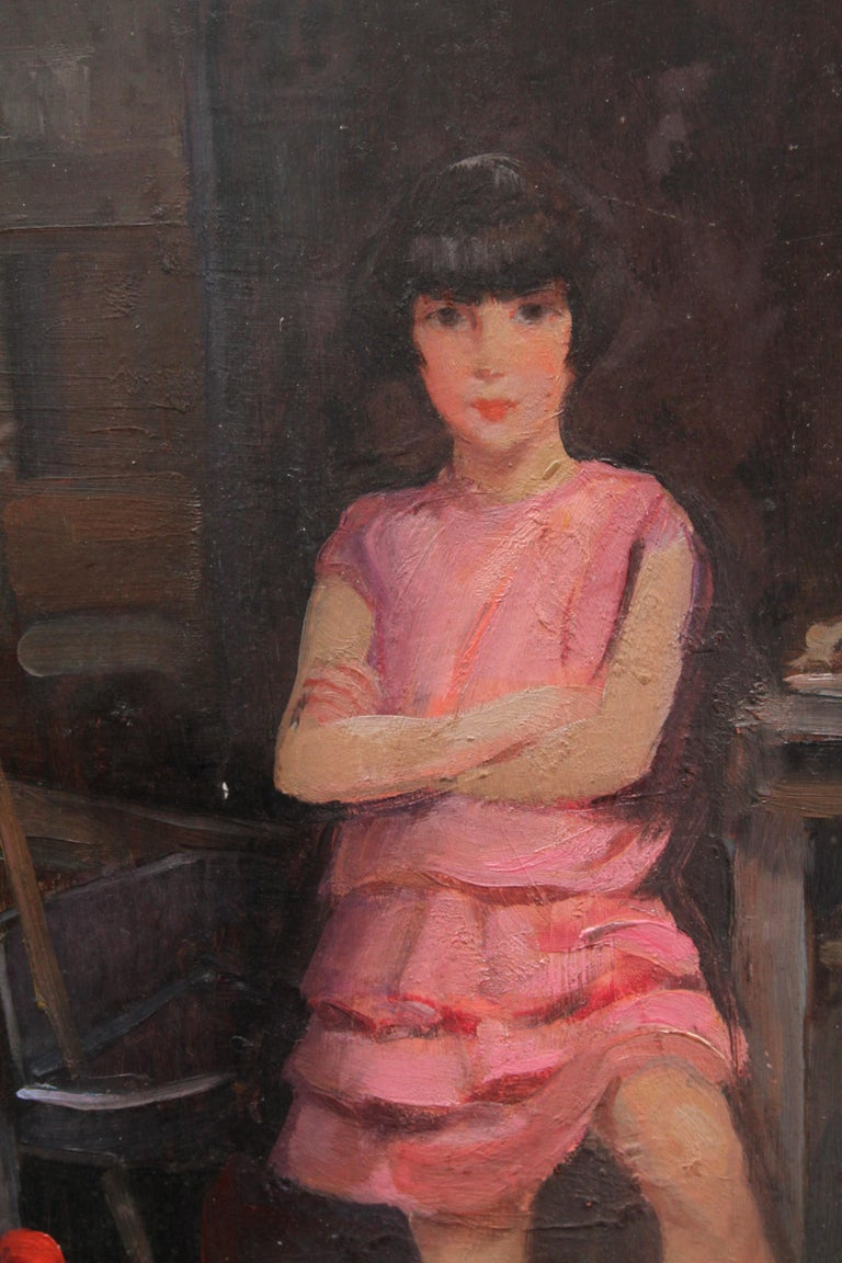 This charming Art Deco portrait oil painting is by noted British portrait artist Harry John Pearson. Famous for his paintings of children, he exhibited extensively throughout his career including 147 paintings alone at the Royal Society of British