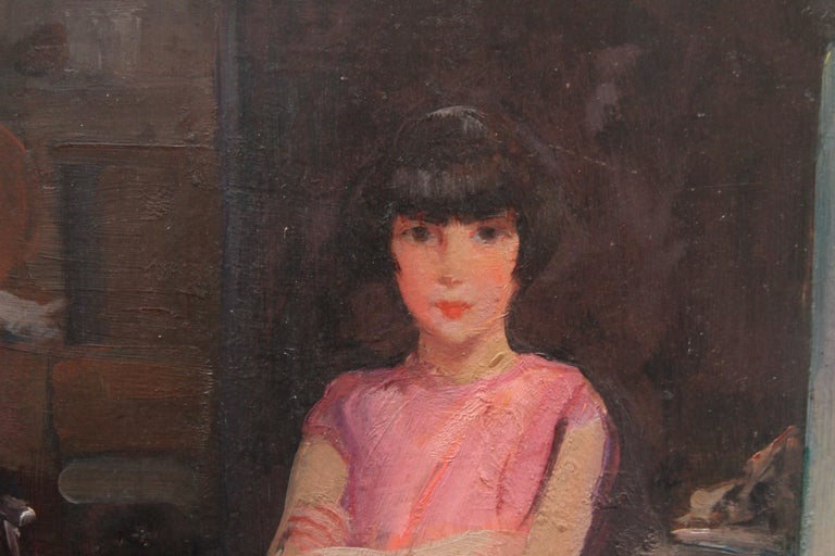 Portrait of Audrey Hughes in Pink - British 1920's Art Deco oil painting For Sale 1