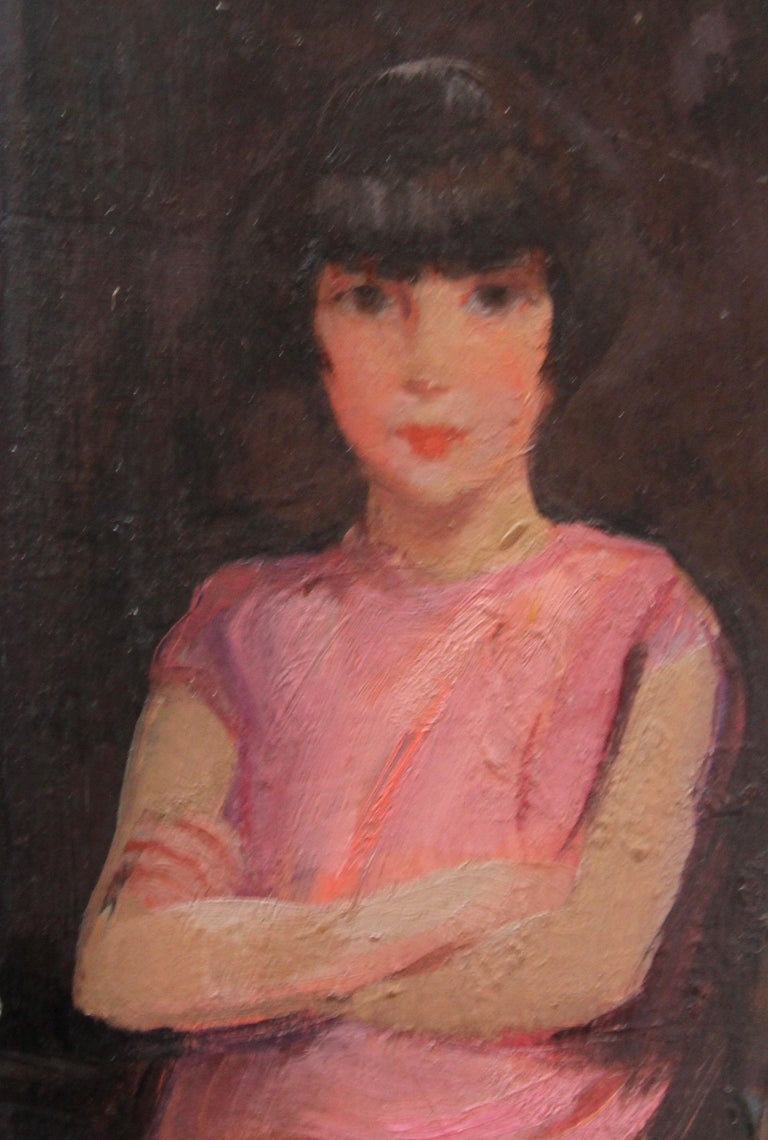 Portrait of Audrey Hughes in Pink - British 1920's Art Deco oil painting For Sale 2