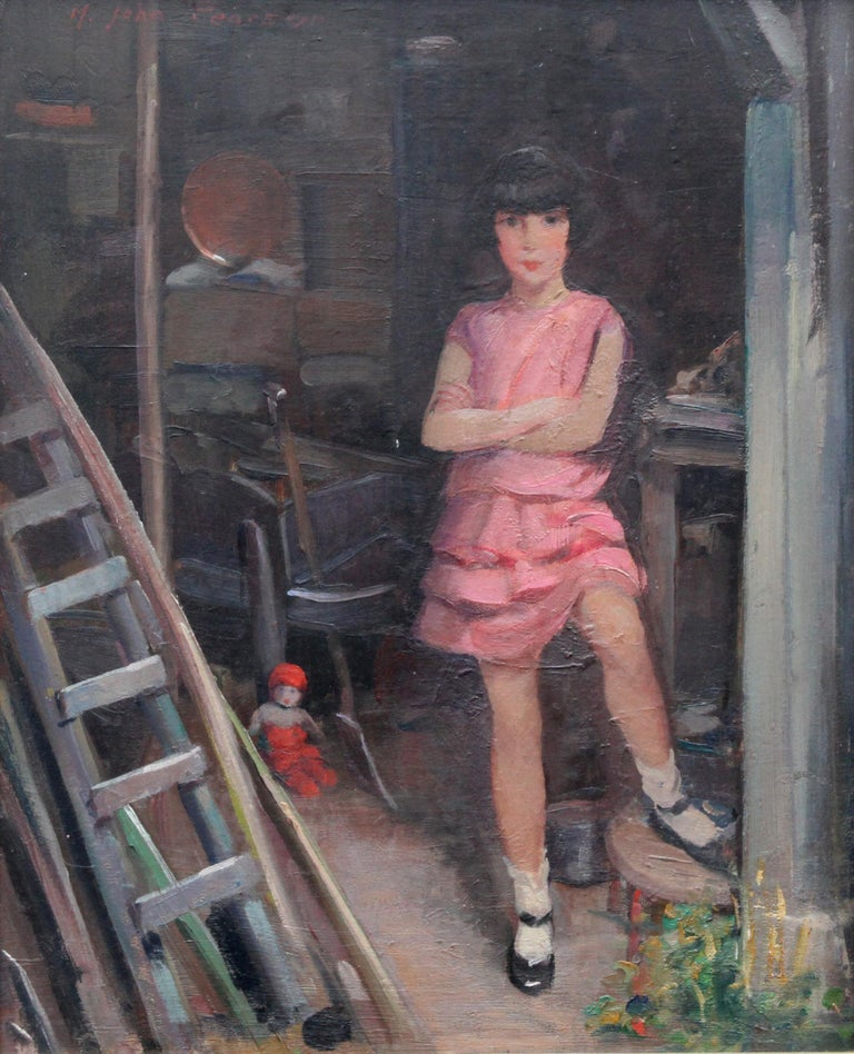 Portrait of Audrey Hughes in Pink - British 1920's Art Deco oil painting For Sale 7
