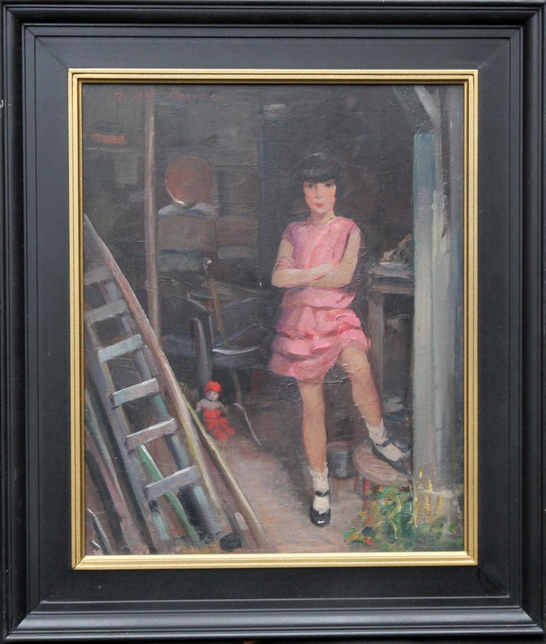 Portrait of Audrey Hughes in Pink - British 1920's Art Deco oil painting For Sale 8